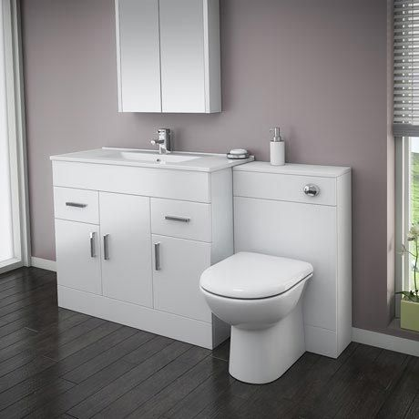 Turin 1500mm Gloss White Vanity Unit Bathroom Suite Depth D400
