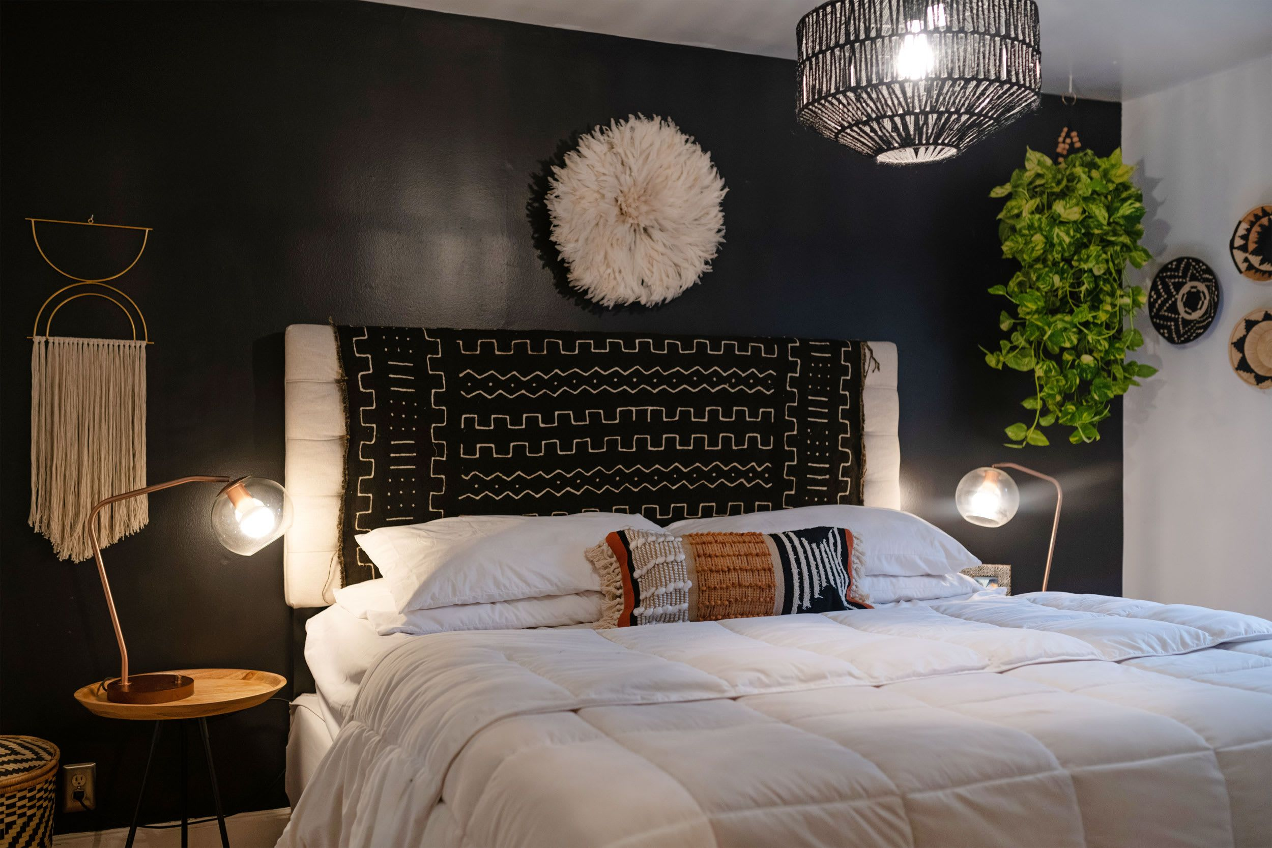 This House Got A Beautiful Modern Bohemian Ish Update Black Walls Bedroom Black Bedroom Black Accent Walls