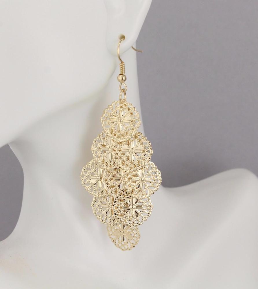 Gold filigree chandelier earrings dangle earrings dangly wiggly 3 gold filigree chandelier earrings dangle earrings dangly wiggly 3 long arubaitofo Choice Image