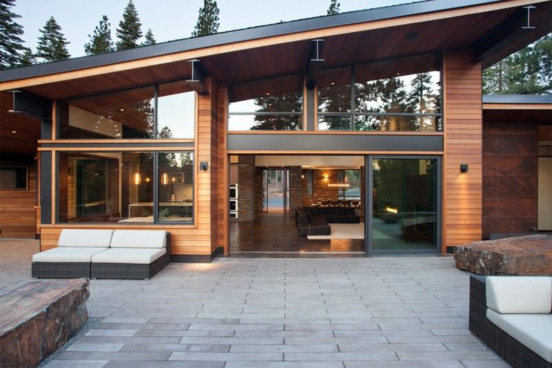 Modern Mountain House With Sleek Angled Roof Large Yard For Outdoor Gathering And Modern Comfortable In House Designs Exterior House Exterior Modern Exterior