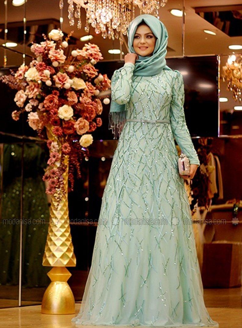 Yagmur Abiye Mint Pinar Sems Gaun Pesta Gaya Hijab Desainer Pakaian