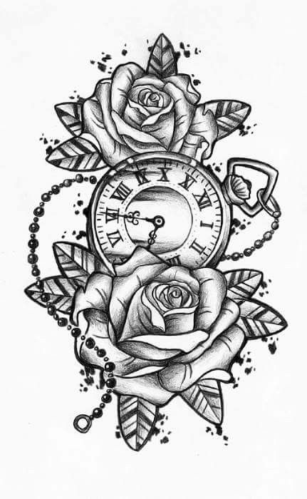 Rose Clock Tattoo Designs Drawing: This And Add A Second Clock, Each One At The Time Of My