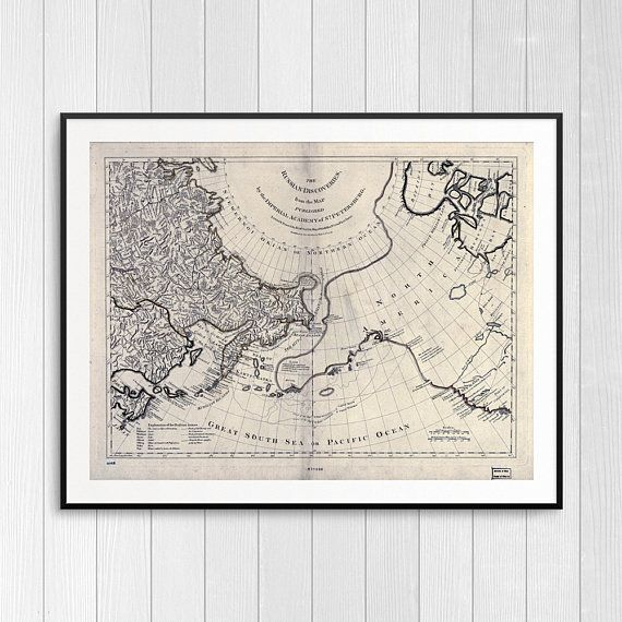 Vintage Map Of Russia Antique Map Bering Straight Huge Vintage Map - Old map reproductions