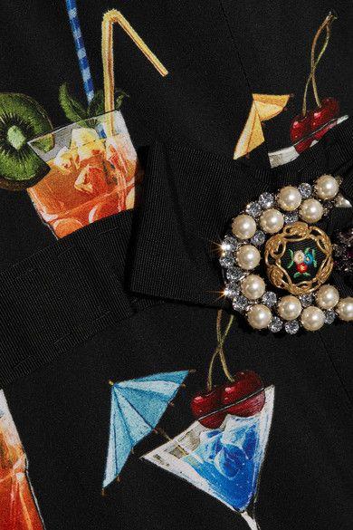 Dolce & Gabbana - Lace-trimmed Embellished Printed Crepe De Chine Dress - Black - IT