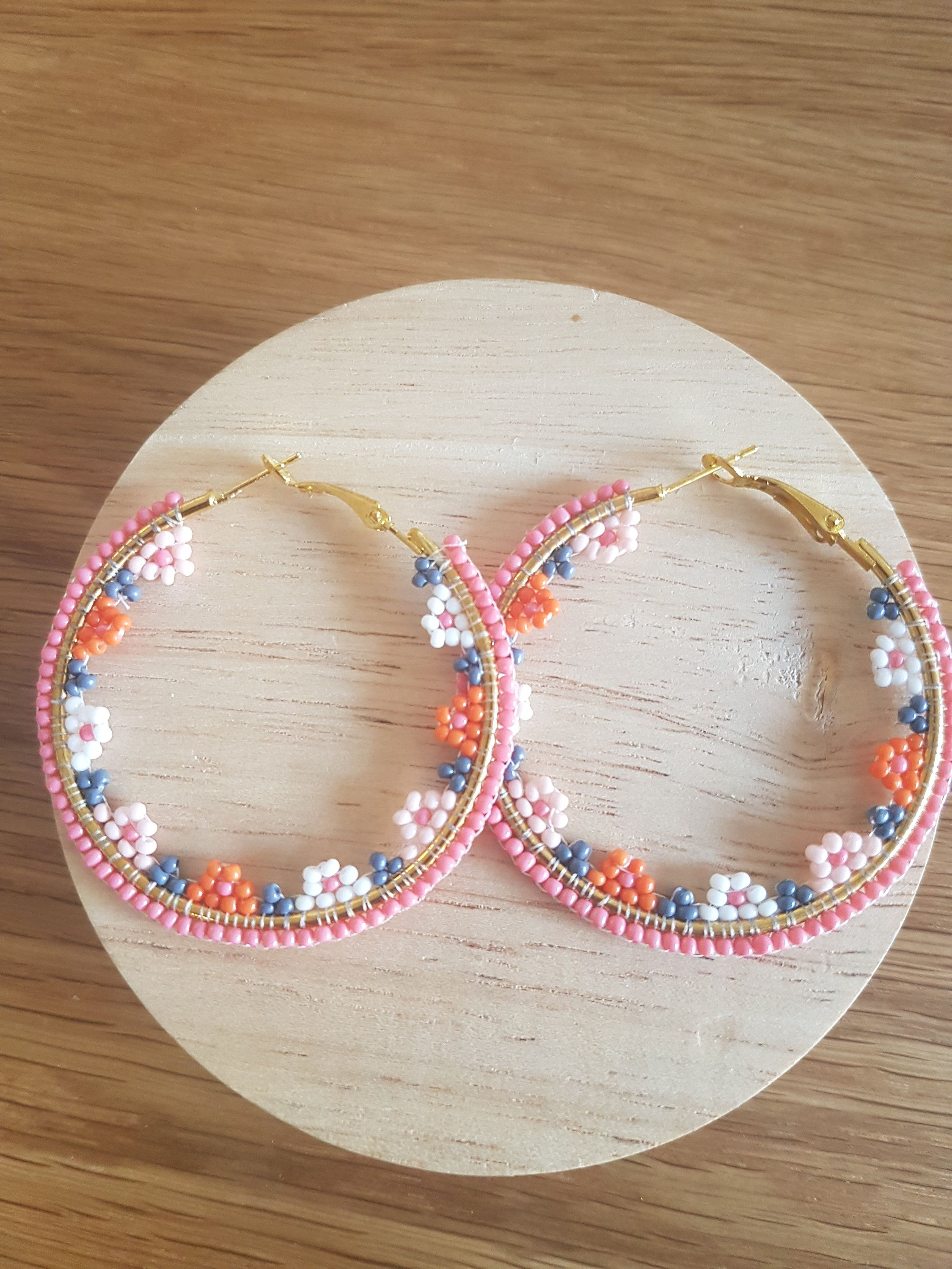 Photo of Handmade Elegant Floral Hoop Earrings Seed Beads Gold Pink White Orange Grey