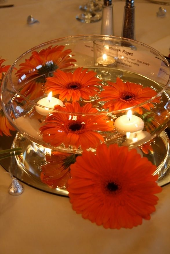 Yellow daisies instead wedding pinterest yellow daisies floating gerbera daisieswith candles junglespirit Gallery