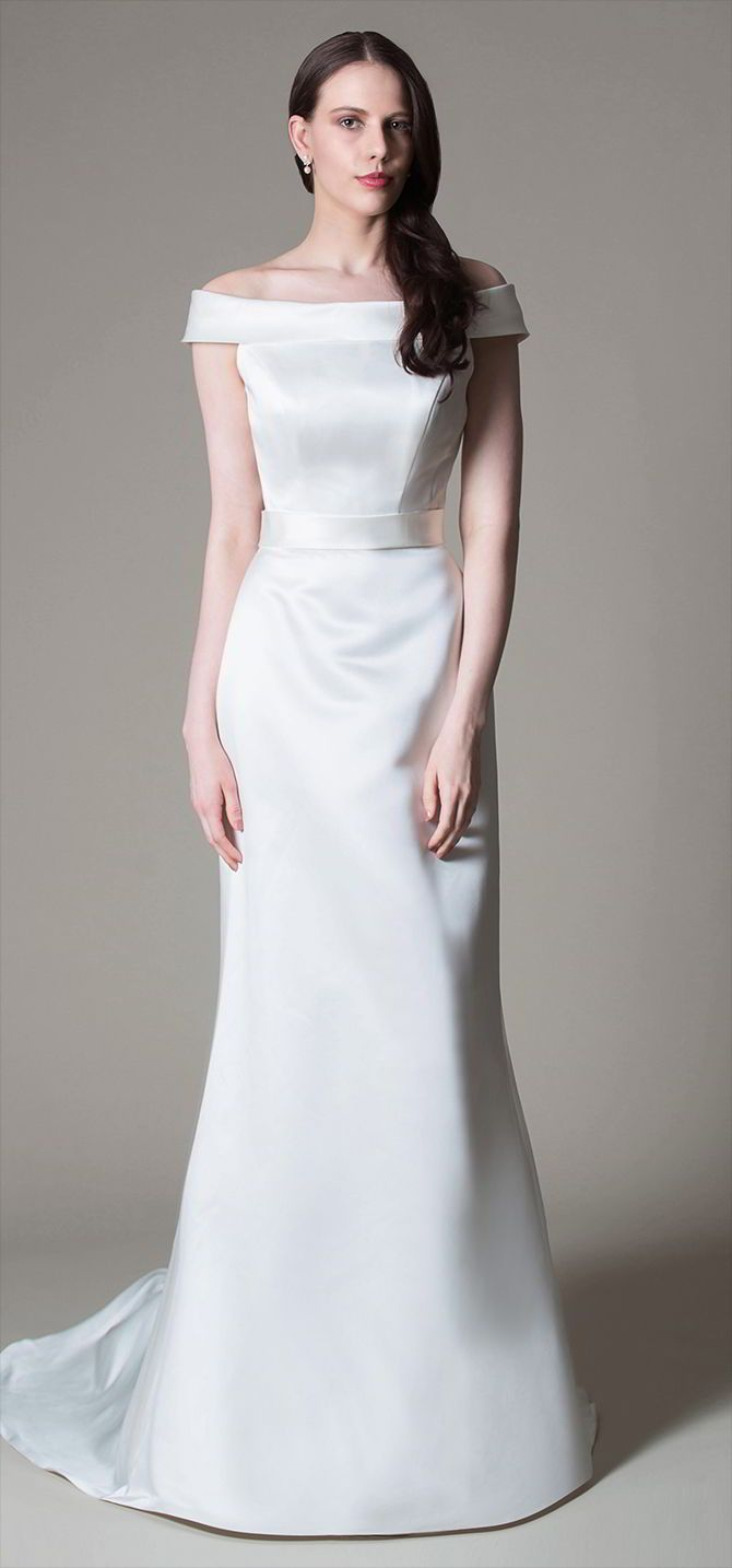 Wedding dress with collar  Miamia Bridal  True Romance Wedding Dresses  Satin dresses
