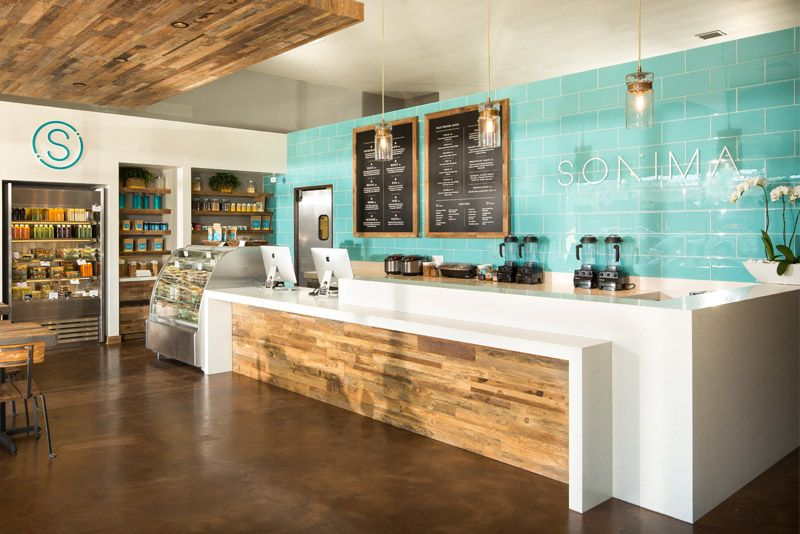 Bar counter layout idea. Sonima's Nutritional Offerings Stop organic juices, superfood smoothies, and naturally sourced foods.