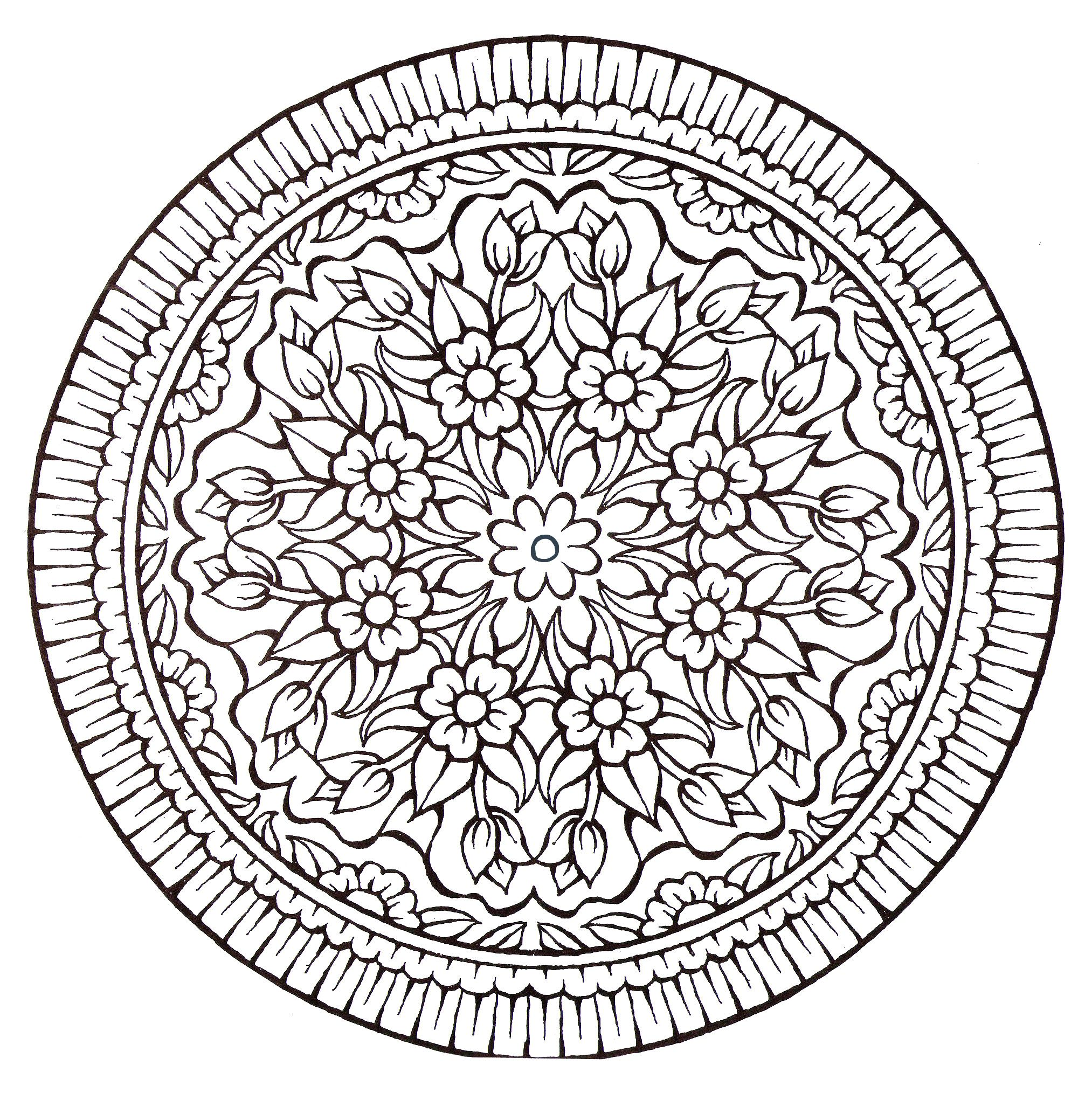 a mandala very u0027vintage style u0027 with a lot of flowers from the