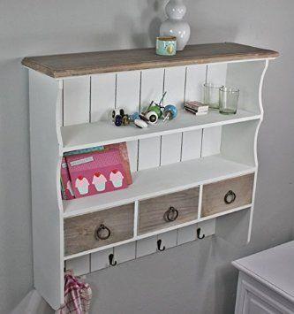 wandregal wandablage garderobe braun wei landhaus neu antik gew rzregal holz m bel pinterest. Black Bedroom Furniture Sets. Home Design Ideas