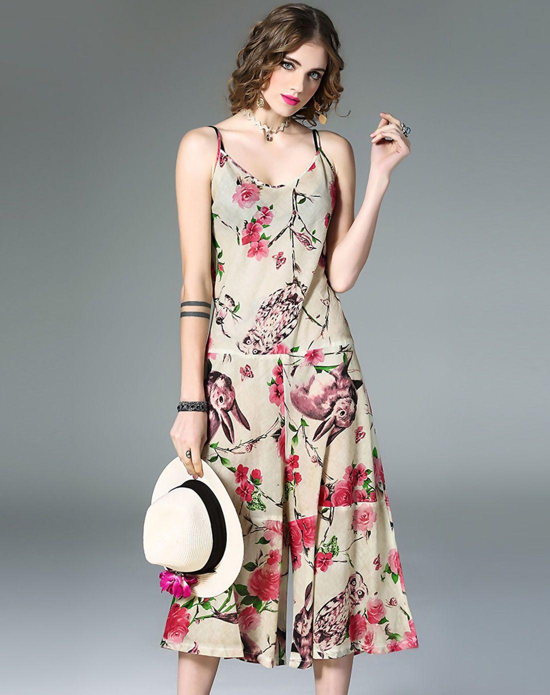 #AdoreWe #VIPme Jumpsuits & Rompers - mojaser Multicolor Fashion Floral Print Wide Leg Jumpsuit - AdoreWe.com