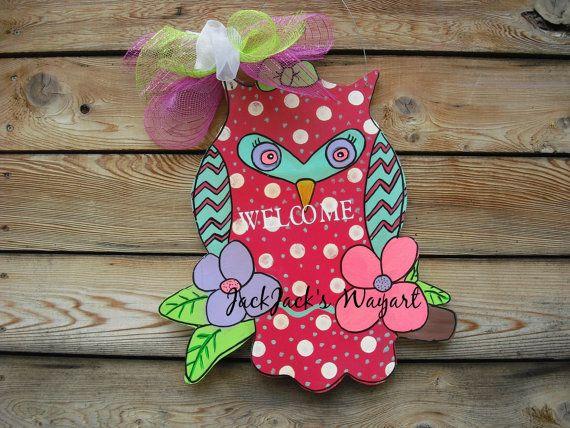 Owl Door Hanger Door Hanger  Summer Wreath   by JackJacksWayart