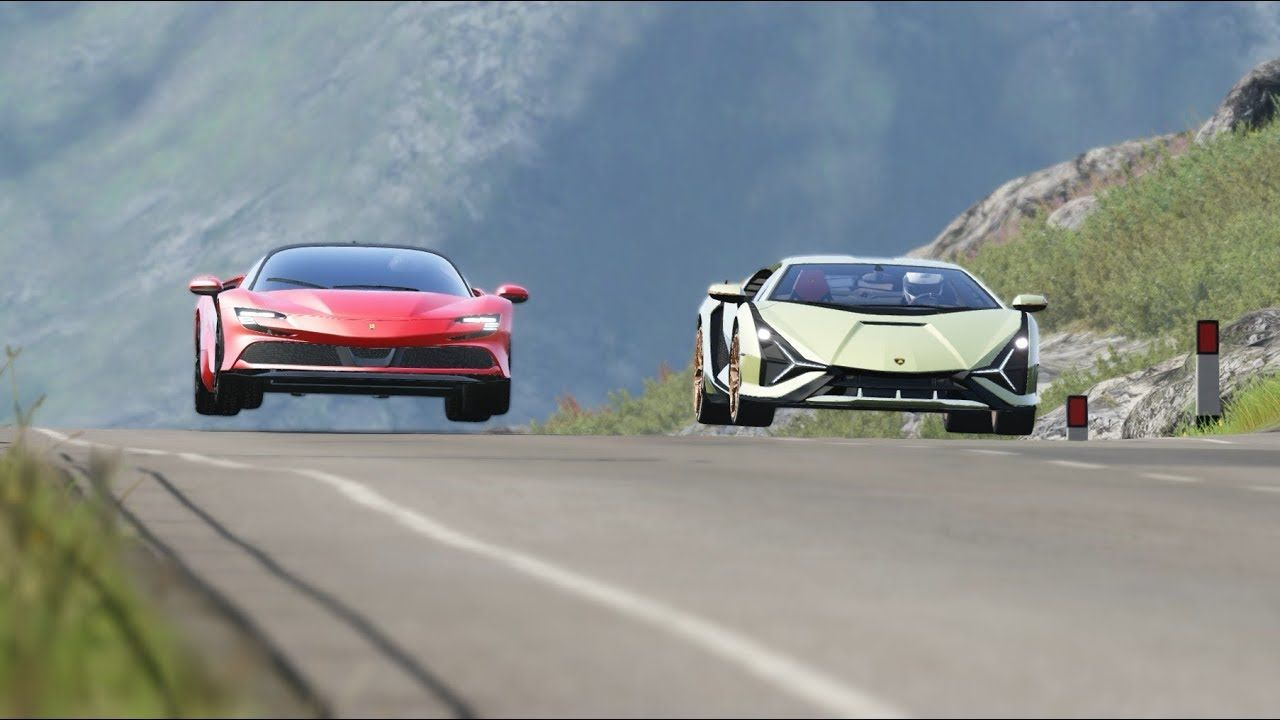 Ferrari Sf90 Stradale Vs Lamborghini Sian Fkp37 At Highlands In 2020 Amazing Cars Lamborghini Racing Simulator