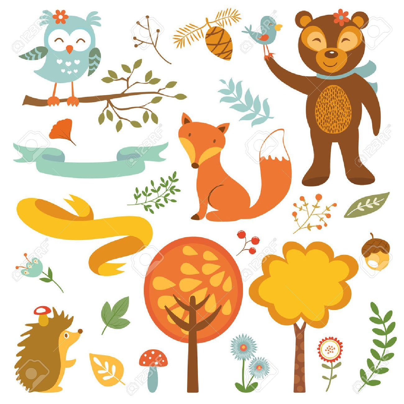 Cute forest animals colorful collection. vector