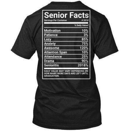 Senior Facts Hanes Tagless Tee T Shirt Senior Shirts Senior Class Shirts Graduation Shirts