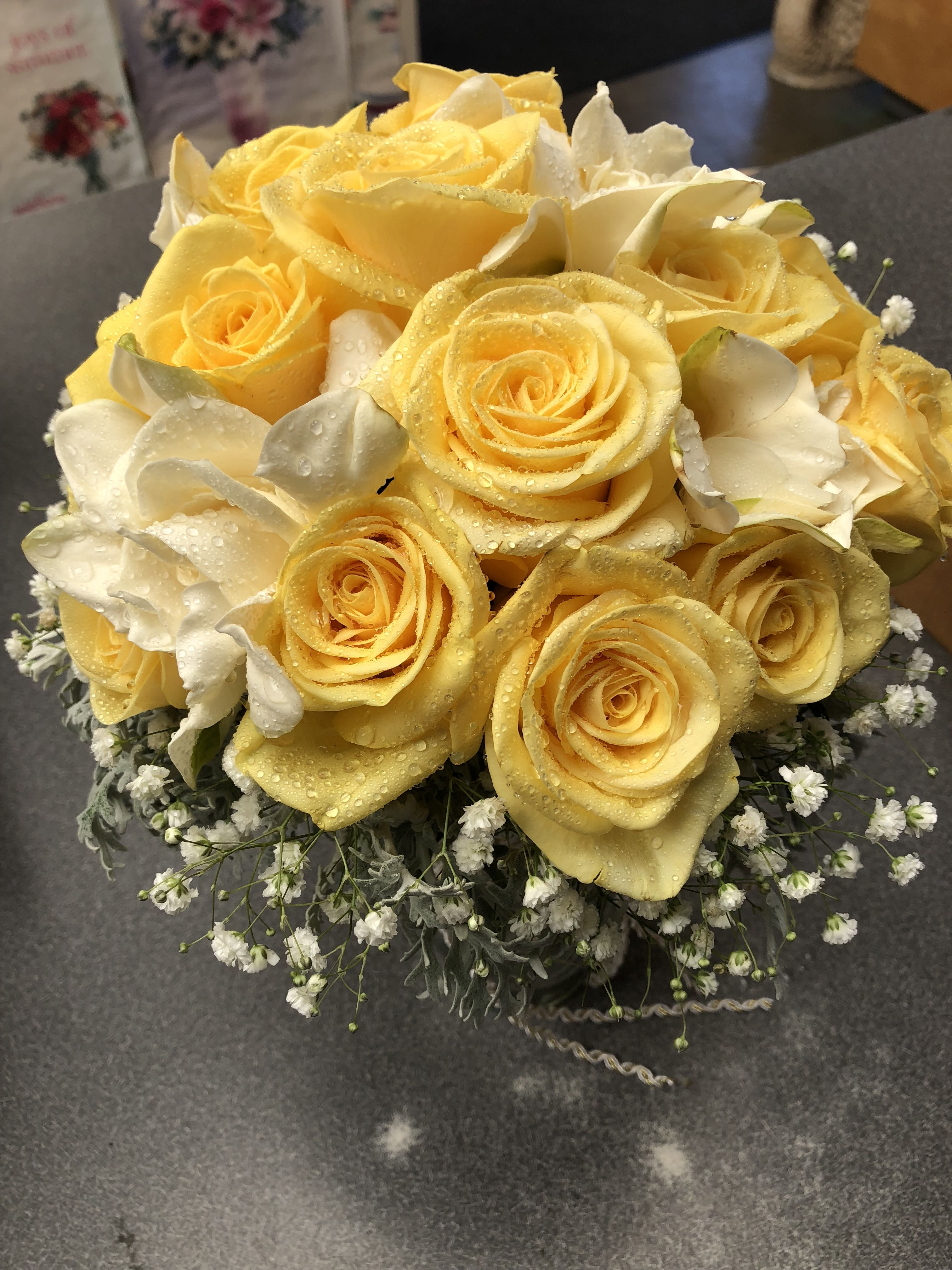 Yellow Roses And Gardenia Bridal Bouquet Gardenia Bridal Bouquet Bridal Bouquet Flower Arrangements