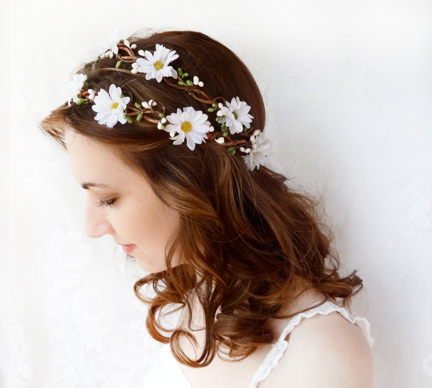 white daisy flower hair wreath, flower crown, wedding head piece