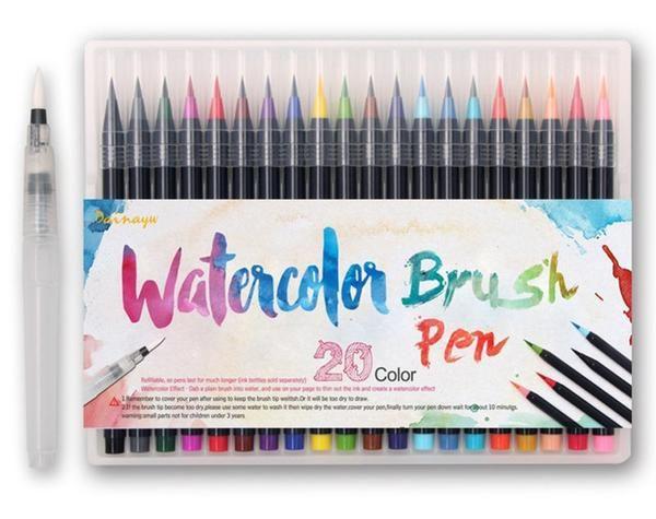 Watercolor Brush Pens - 20 Piece Set | Water brush, Brush pen and ...