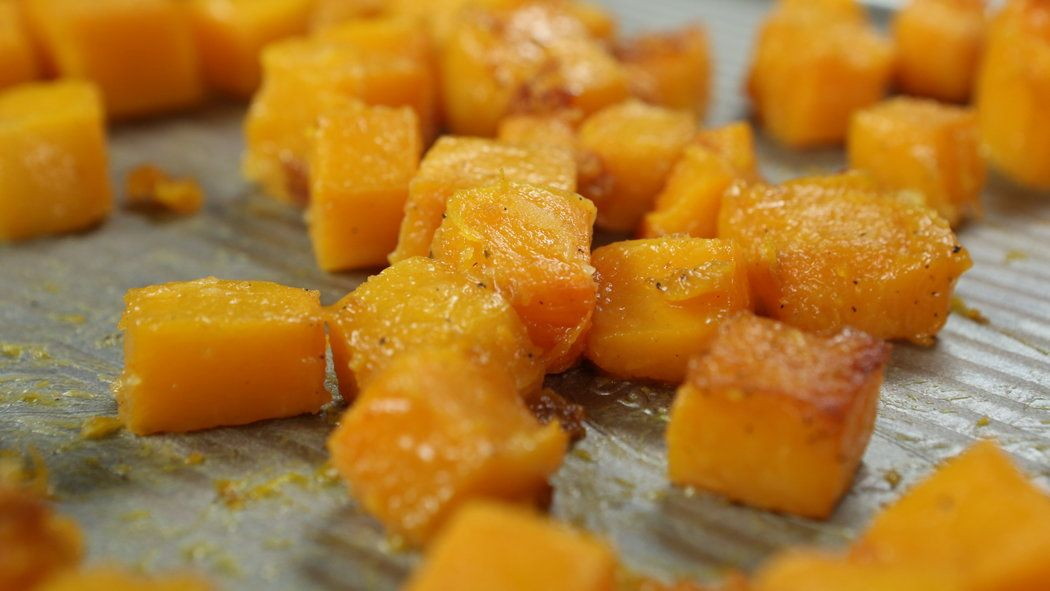 Peel and seed squash before roasting it with maple syrup and butter.