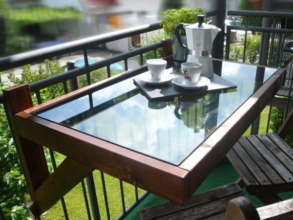 Folding Table For The Balcony Wood And Glass Plate