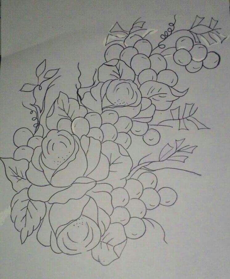 Rosas Com Uvas Riscos Para Pintura Desenhos De Flores