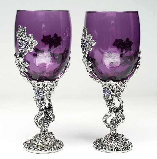 Purple Violet Déco: Purple Crystal Vines Toasting Glass Or Communion Cup