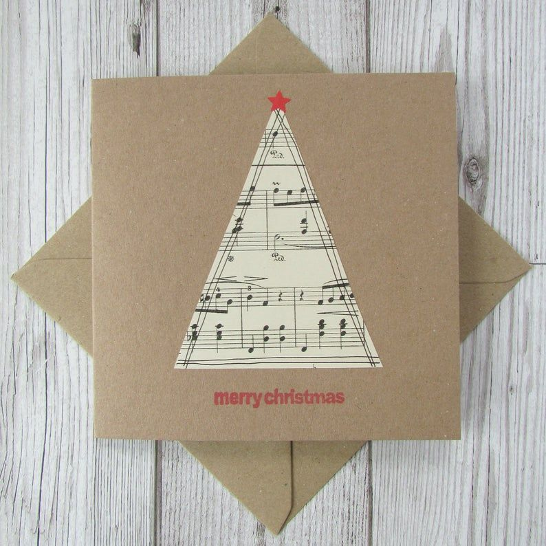 Set of 5 Sheet Music Christmas Cards Etsy in 2020