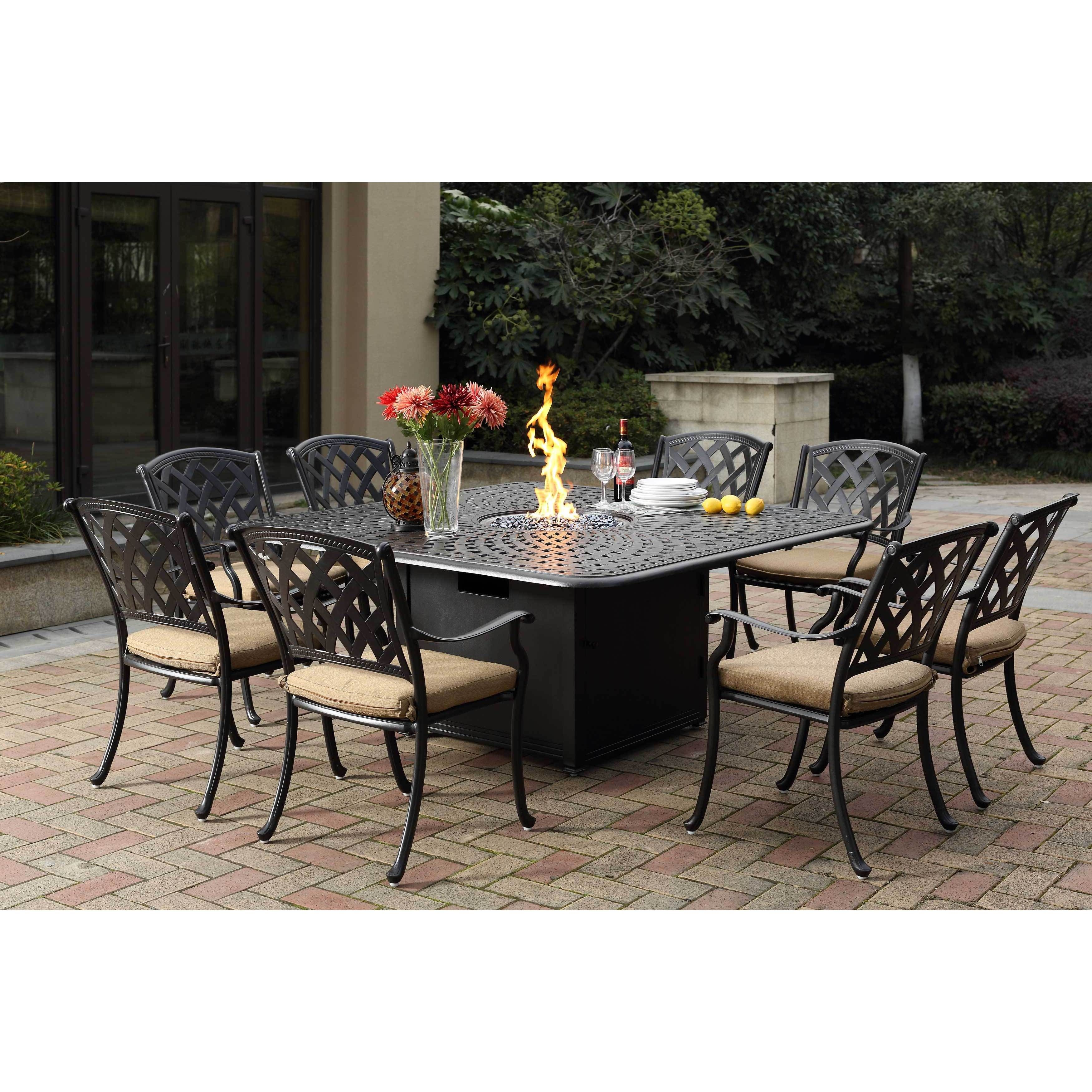 darlee ocean view cast aluminum dining set with sesame seat cushions rh in pinterest com