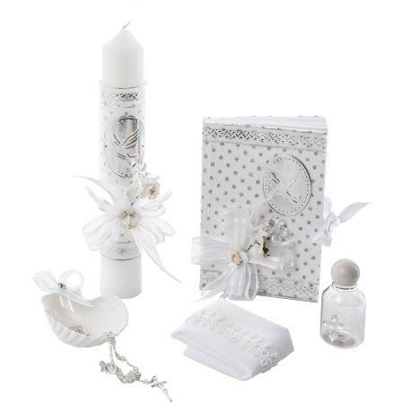 Little Angels Newborn Baby Unisex Christening 6 PC 'Holy Spirit' Gift Set, White