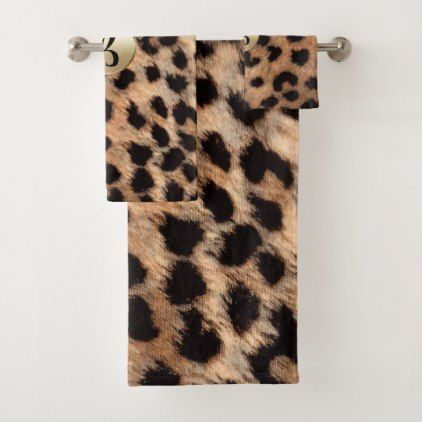 leopard cheetah animal print chic monogram bath towel set monogram rh in pinterest com
