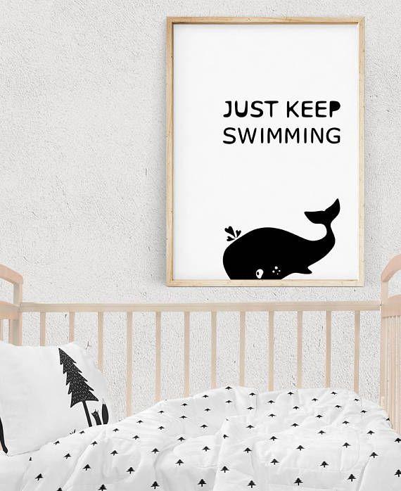 Wal-Druck schwarz und weiß-Abbildung Monochrome Kinderzimmer