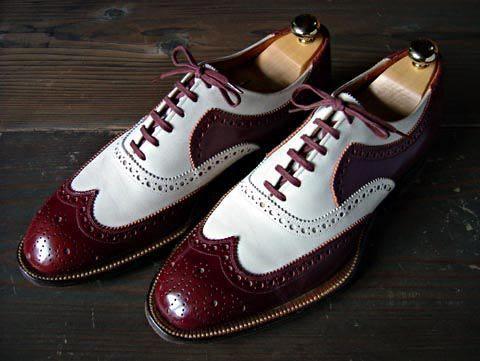 handmade men's casual shoes men burgundy  white leather
