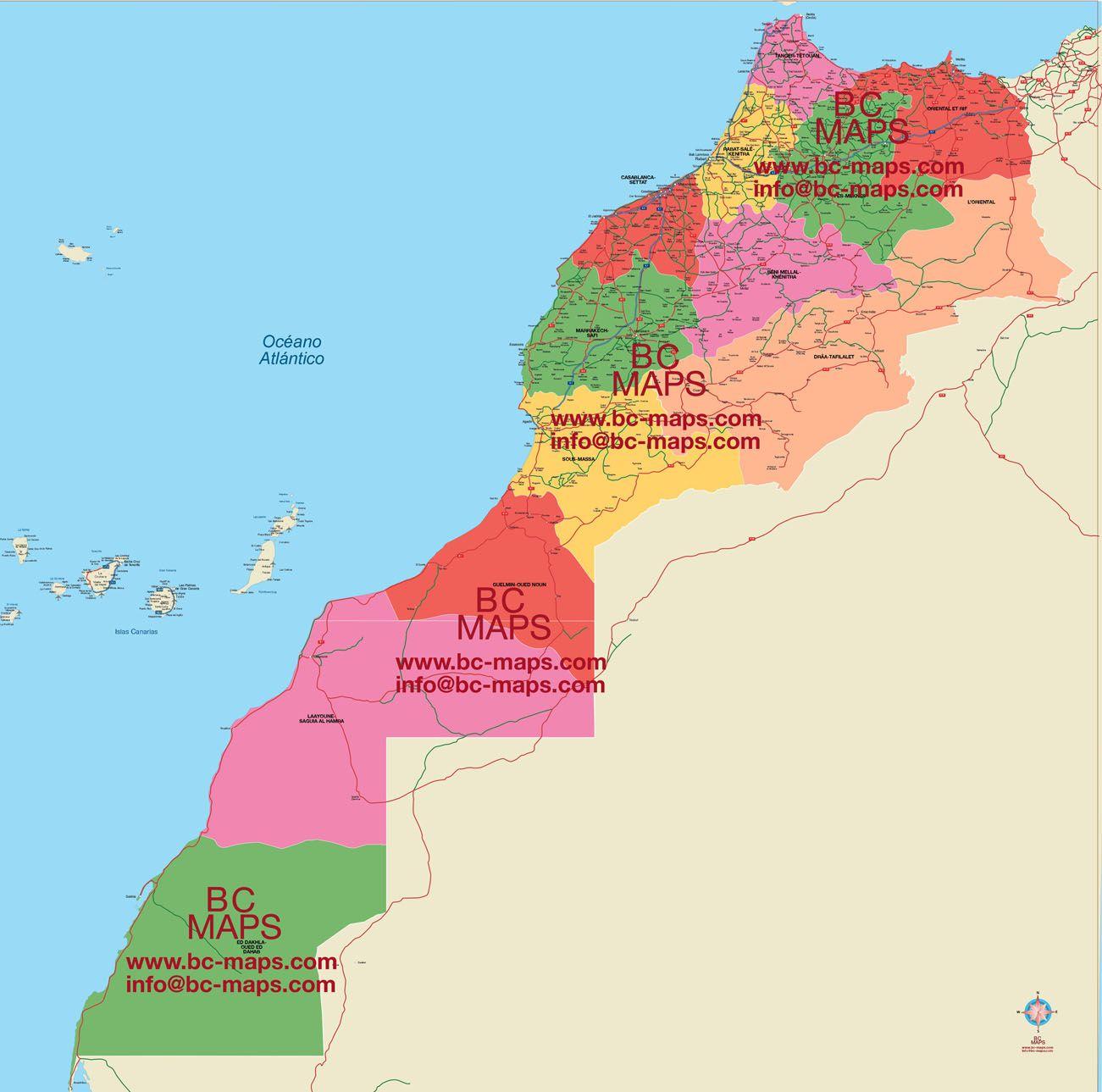 Digital Vector Maps Editables Morocco Regions Districts Council