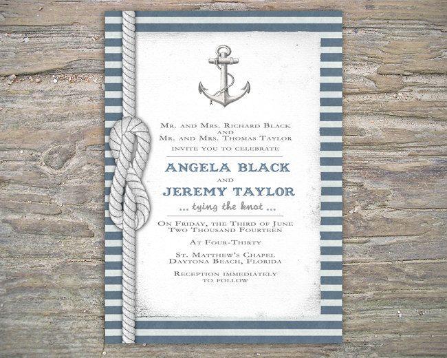 Nautical Wedding Invitation Wording: Nautical Invitation - DIY Printable