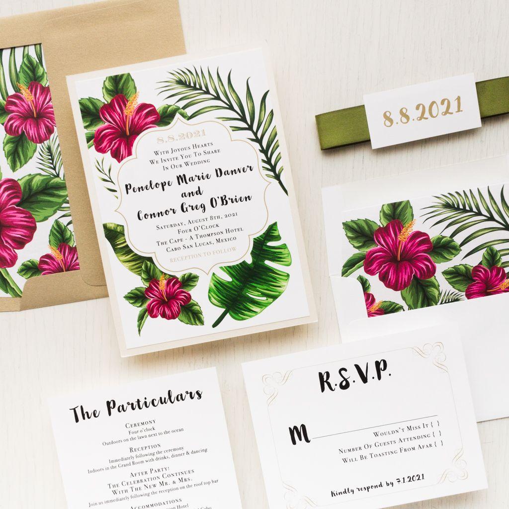 Hibiscus Wedding Invitations Hawaii Tropical Love in