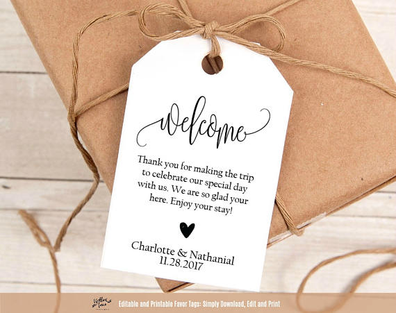 Wedding Labels For Gift Bags: Welcome Wedding Tags, Printable Wedding Welcome Favor Tag