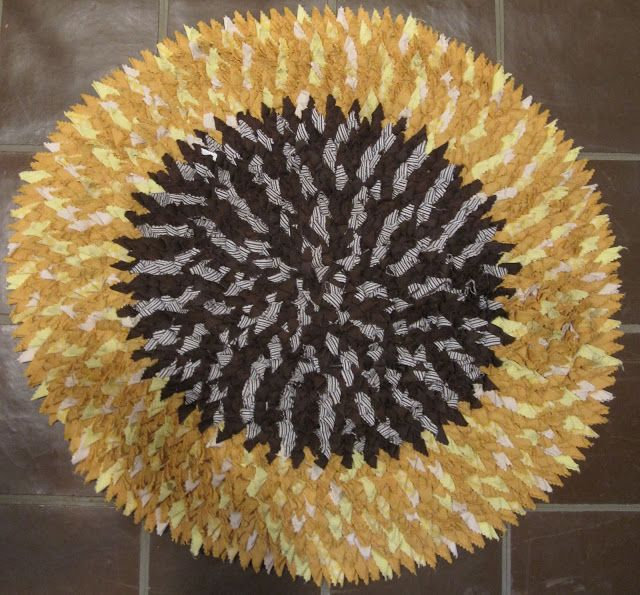 Sunflower Rag Rug via Deb Rowden's Thrift Shop Quilts