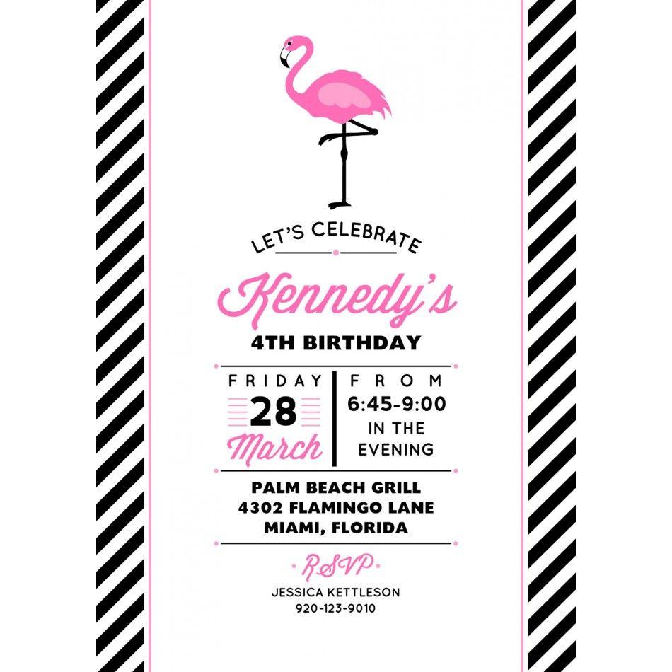 Flamingo Birthday Party Invitation X | Party | Pinterest | Flamingo ...