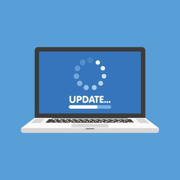 System software update and upgrade concept. Loading process in laptop…
