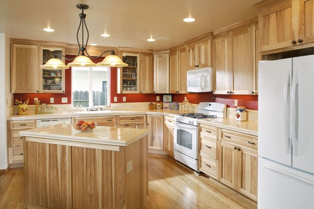 Hickory Cabinets With White Appliances And Light Colored Countertops Kitchen Re Do Pinterest