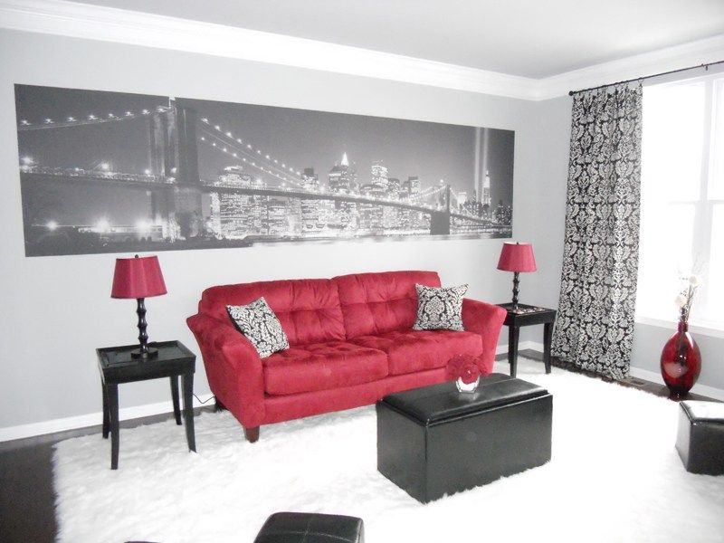 living room decorating ideas red and black%0A Red Black And White Living Room Decor