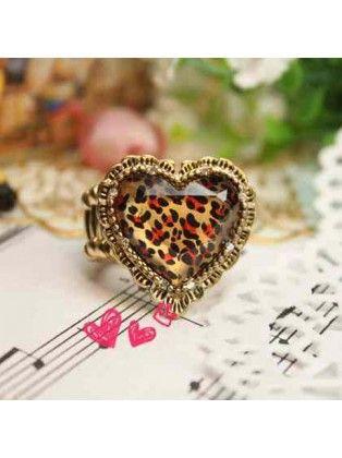 Leopard Metal Heart Ring