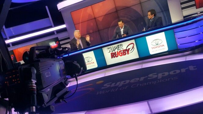 Working on SuperRugby on Kyknet in Studio 1 at Supersport