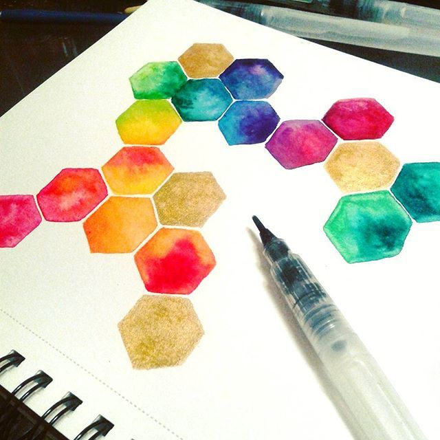 Watercolor Maybe Becky Could Do A Tutorial Hexagons Waterbrush