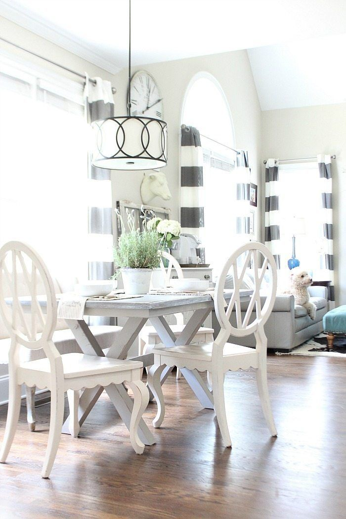 Farm Table Painted Gray With X Base Love The Light And Bright Dining Area