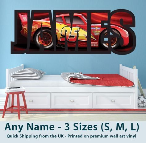 Childrens Name Wall Stickers Art Personalised Disney Cars Lightning McQueen  Boys | Wall Sticker Art, Wall Decal Sticker And Wall Sticker