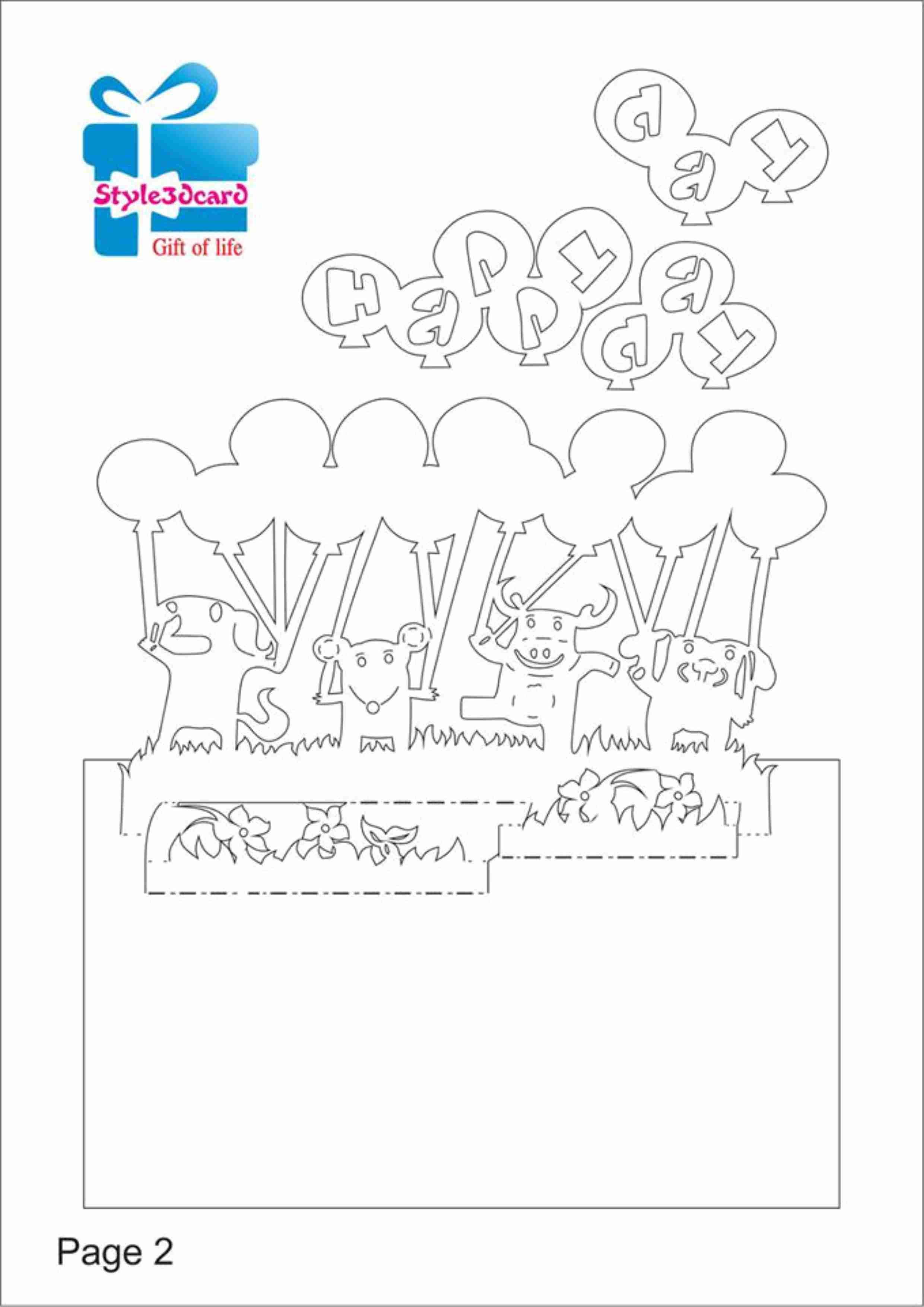 Happy Birthday Card Gift Card For Birthday Kirigami Pattern 1