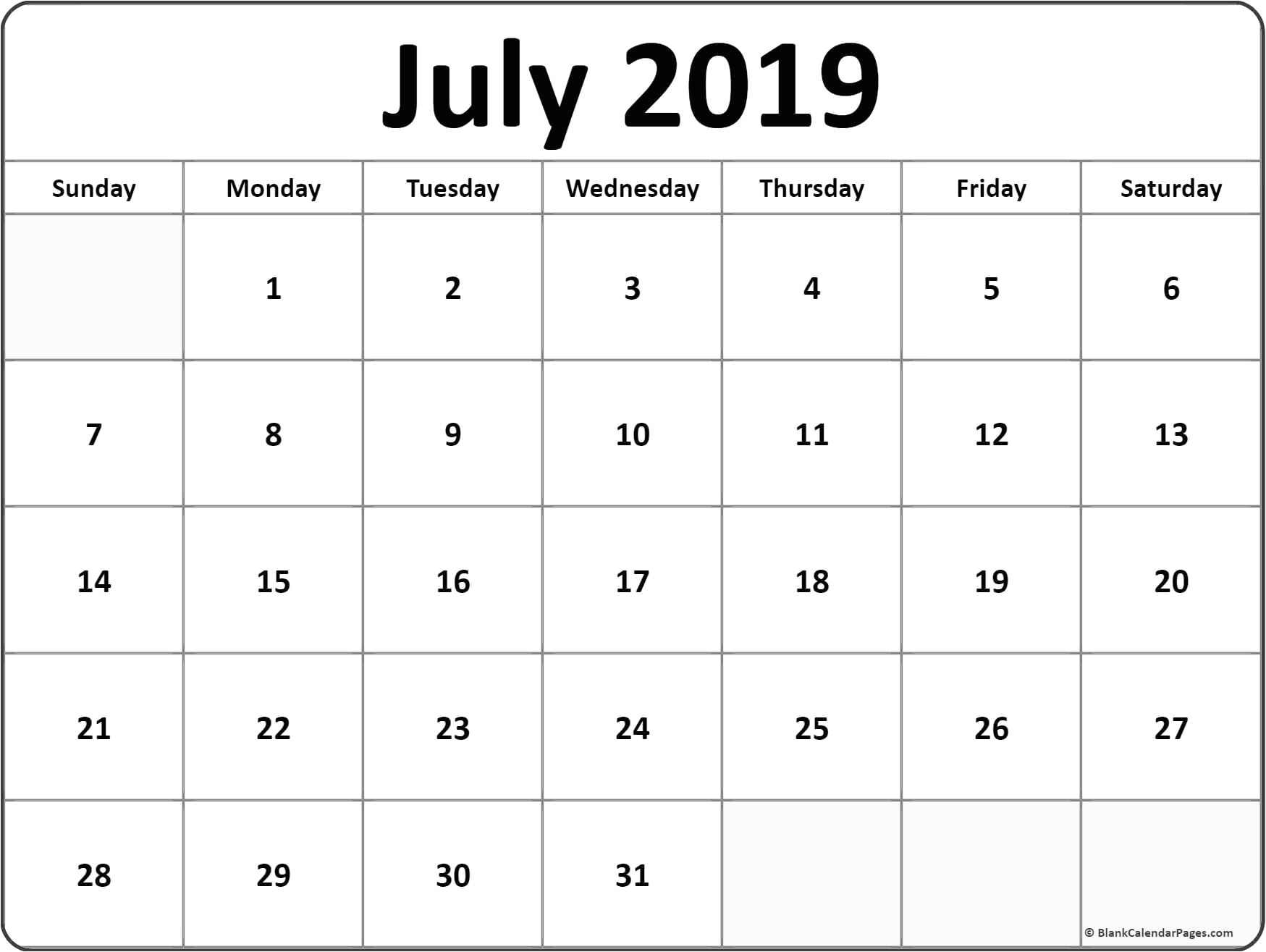 July 2019 Calendar Template Word Document Calendar Printables