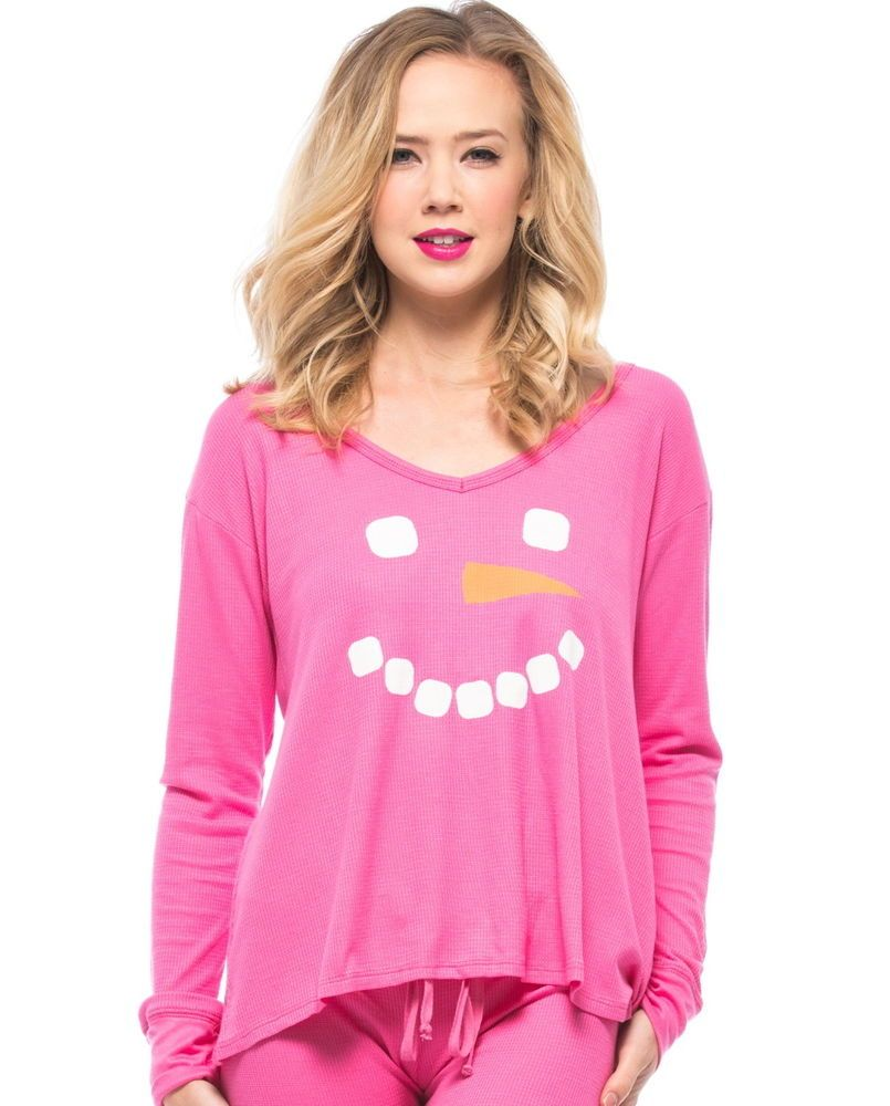 Wildfox Christmas Pajamas.Wildfox Mod Magenta Frosty Face Christmas Pajama Top Thermal