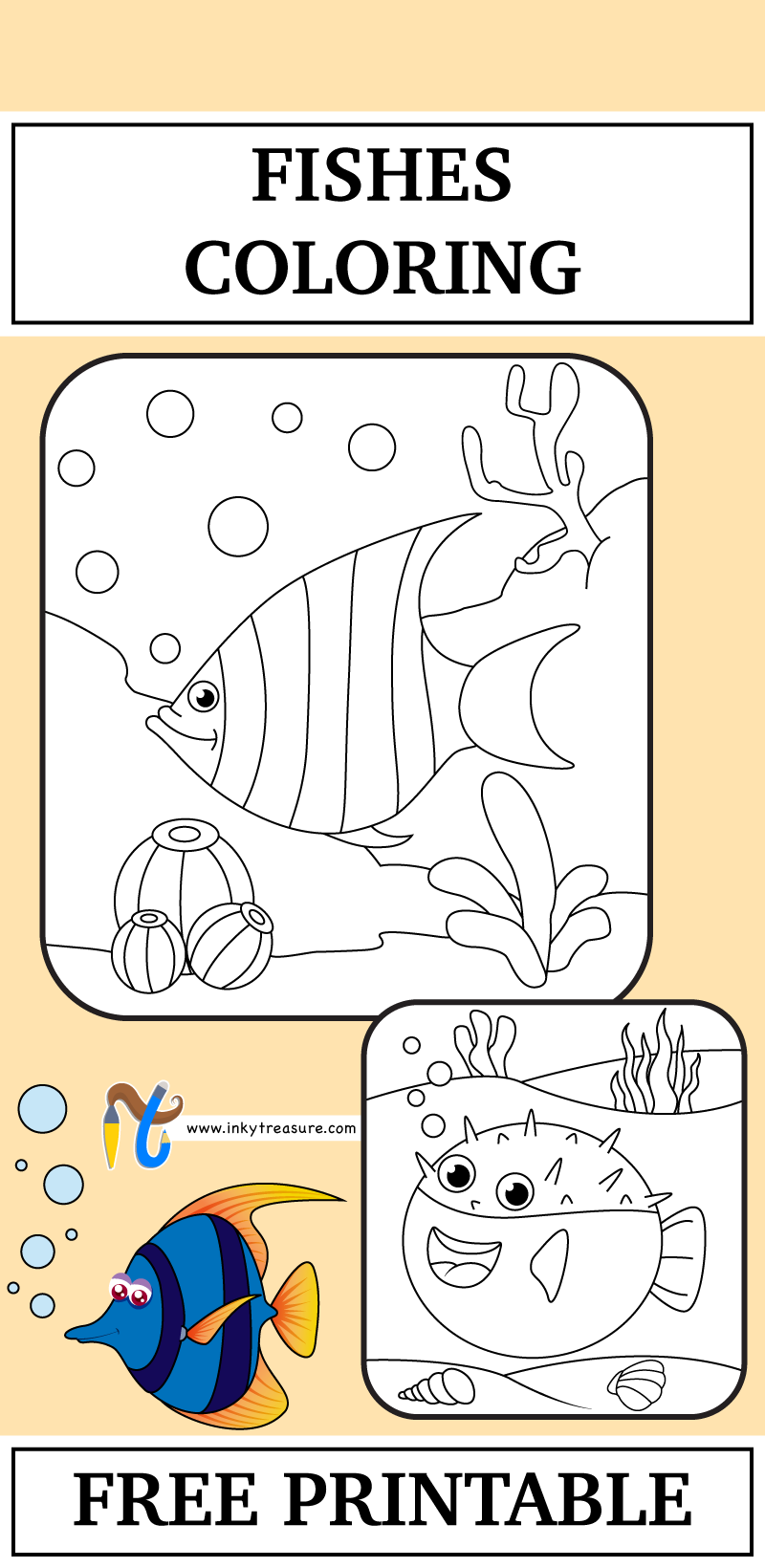 We have 2 Fishes Coloring Worksheet –Angelfish and puffer fish and ...